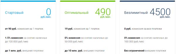 тарифы по открытию р/с в МБ