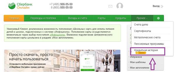 Скрин ЛК Сбербанка по проверке КИ