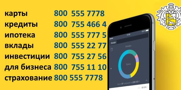 список телефонов Тинькофф Банка