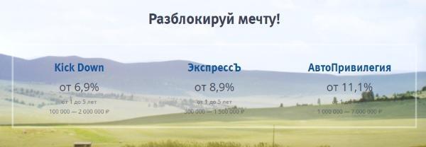 скрин спец программ по автозаймам ВТБ